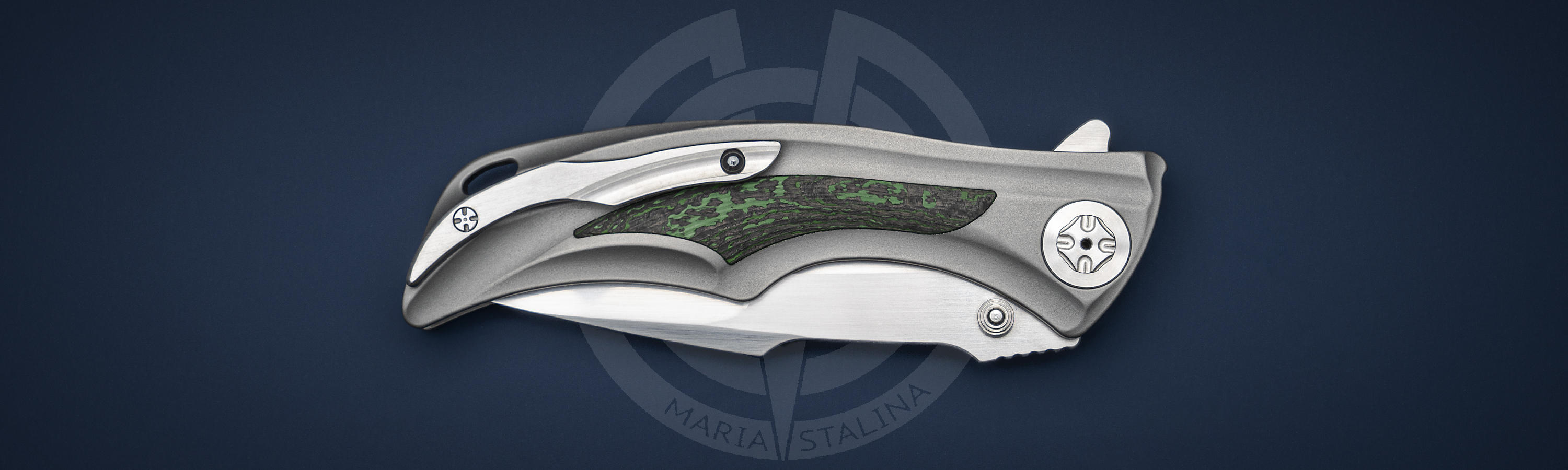 Pocket clip with zirconium ball Down Integral Green Carbon Fiber knife