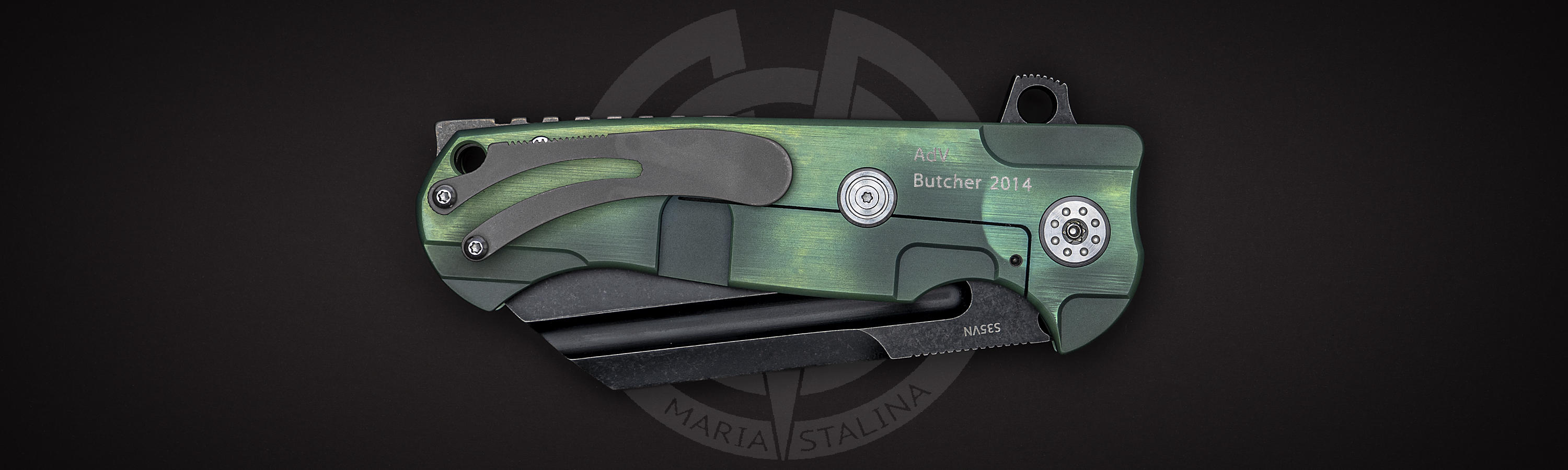 Anodized titanium Butcher 2014 Green/Black