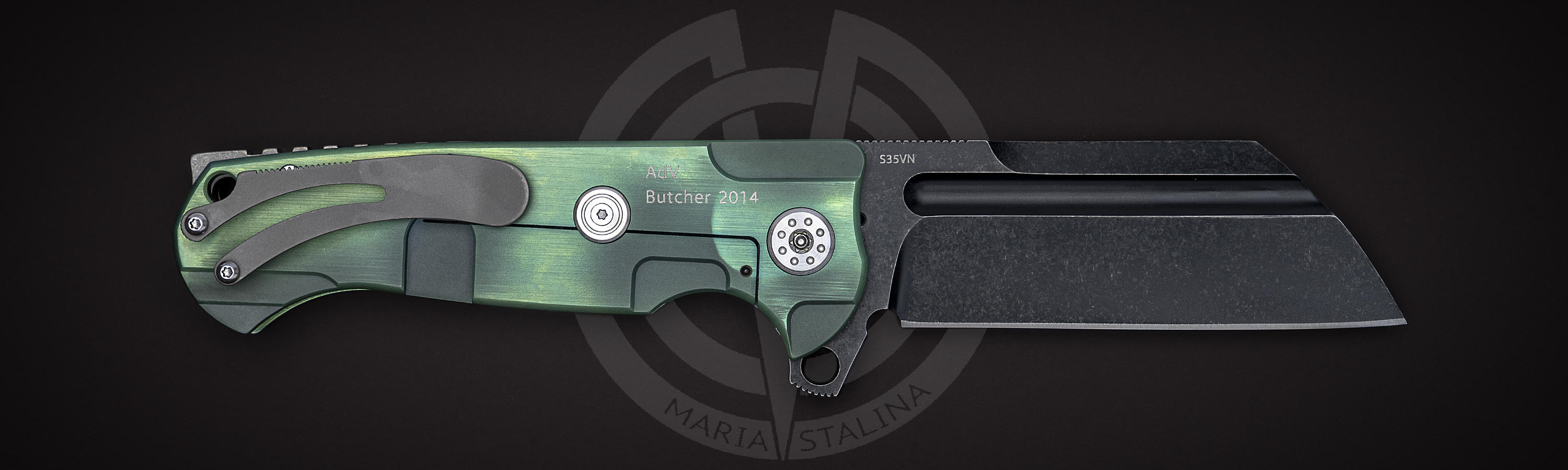 Black steel blade S35VN Butcher 2014 Green/Black