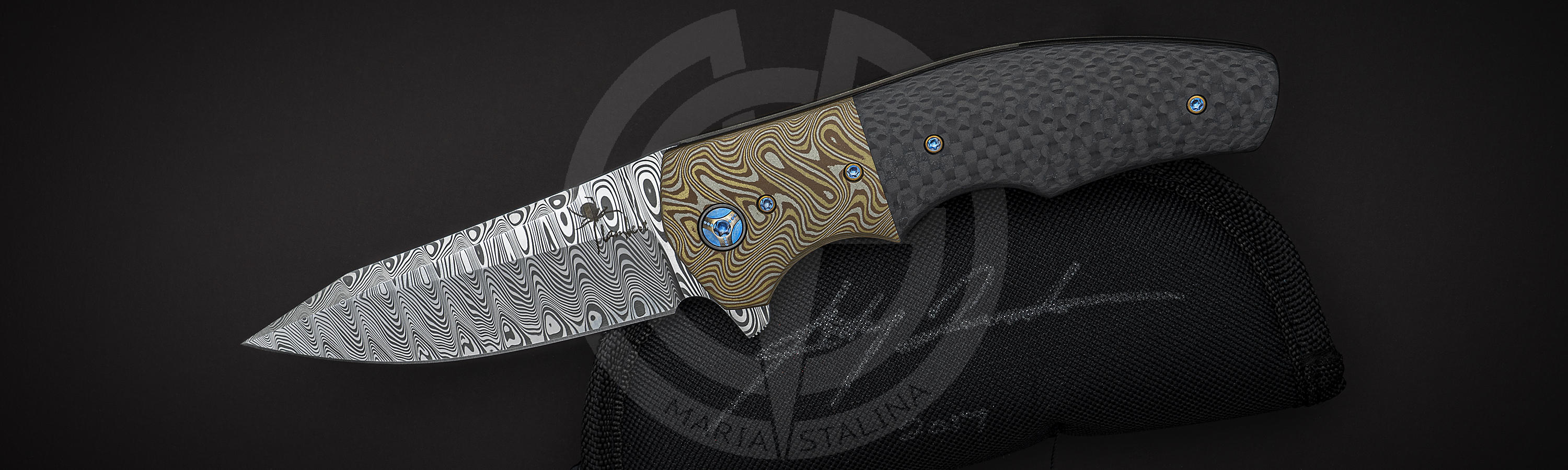 Buy Canadian flipper knife Crossroads Mokume by Kirby Lambert
