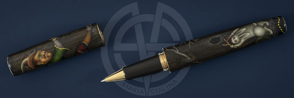 Fedoskino factory pen Oblique hares hunters