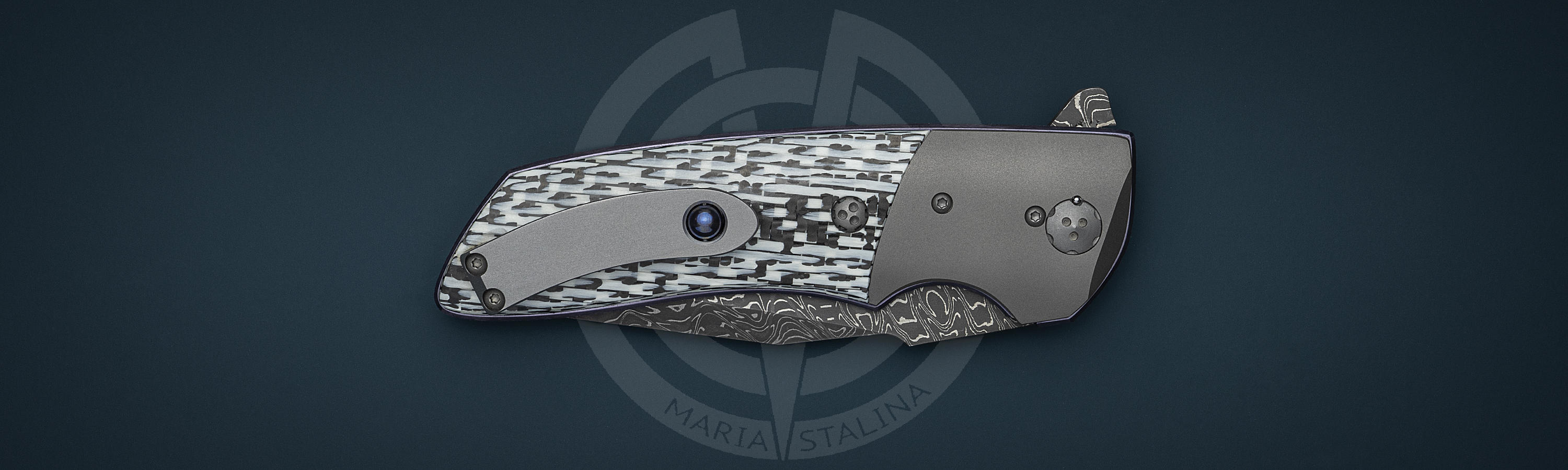 Titanium bolster and clip of knife Omega M2 by Allen Elishewitz